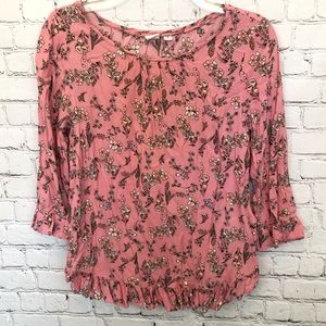 GAP pink floral 3 quarter length sleeve blouse